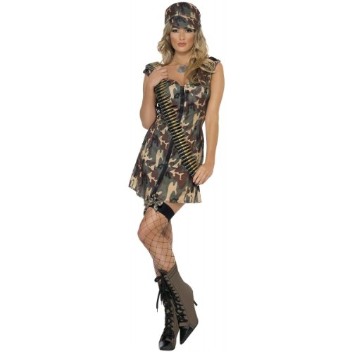 Smiffys Women's Army Girl Costume, Dress and Hat, Troops, Serious Fun, Size 14-16, 33829