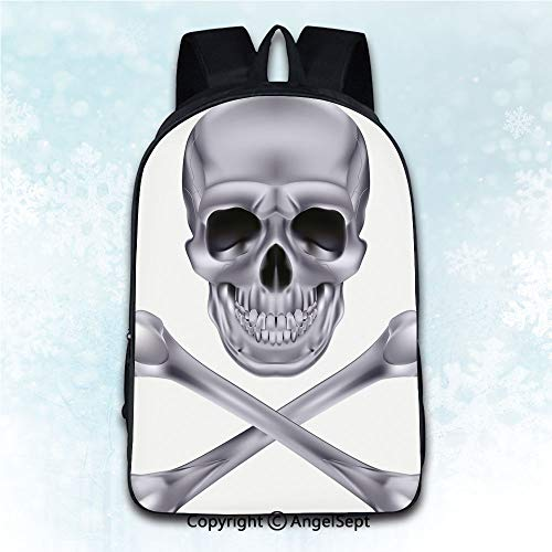 Elegant Rucksack with Two Carrying Ways,Silver Vivid Skull and Crossbones Dangerous Scary Dead Skeleton Evil Face Halloween Theme Dimgray 16 inches,Anti-Theft Knapsack]()