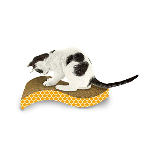 Ourpets the wave curved catnip cat scratcher import it all for Curved cat scratcher