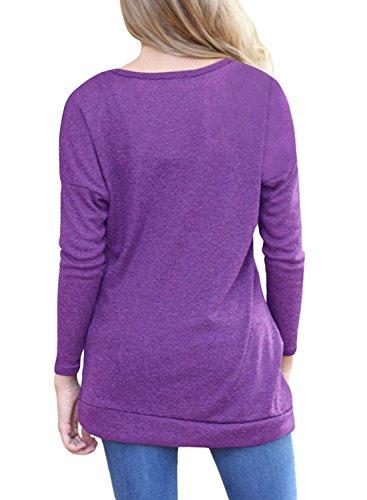 Maglietta Shirt Blazar Camicetta Viola Oversize Donna Maglia Lunghe Maniche Camicia Autunno Casual T Felpa Sportiva Invernale zq6pqIBr