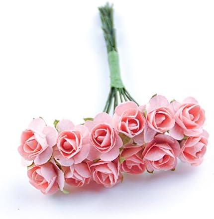 144pcs Mini Artificial Paper Rose Buds Flowers DIY Craft for Wedding Orange