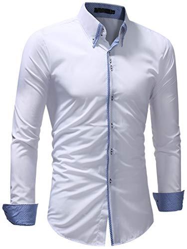 0fb5ef9a0ca3 Lovelelify Men's Business Dress Shirt Oxford Button Down Casual Shirt US  XL/Asian 3XL White 5249