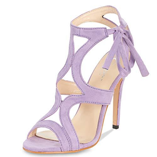 Lace Up Stiletto Pump - JSUN7 Women's Lace-up Stiletto High Heel Sandals Basic Office Summer Dress Shoes Open Toe Party Pumps Purple