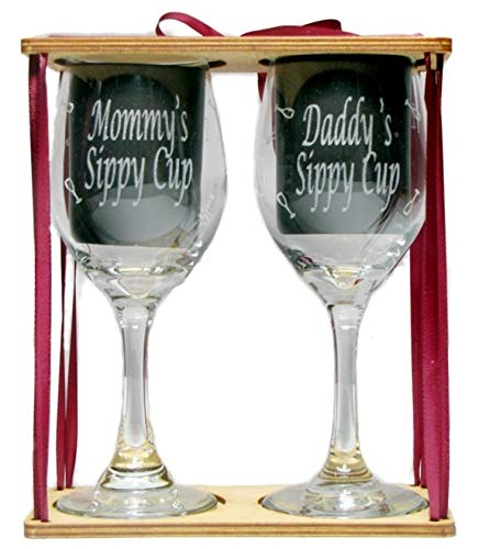 Mommy's and Daddy's Sippy Cups Engraved Wine Glasses with Charms