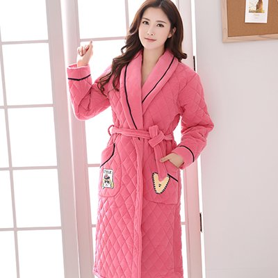Ladies Luxury 100% Cotton Towelling Bath Robe Dressing Gown Wrap ...
