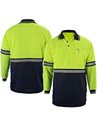 Two Tone Polyester Polo Shirt with Reflective Stripes Lime Yellow/Navy (Long Sleeve)