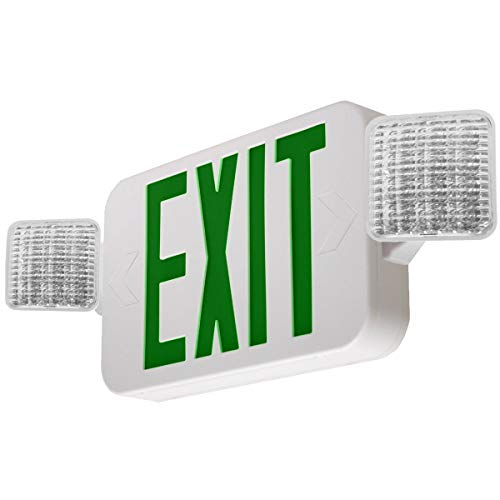 LFI Lights - UL Certified - Hardwired Green LED Combo Exit Sign Emergency Light - Square Head - ()