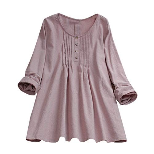 - TUSANG Womens Tops Casual Plus Size Loose Linen Sleeve Print Button Shirt Blouse Loose Fit Comfy Round Collar Tunic(B-Pink,US-12/CN-2XL)