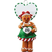 Personalized Christmas Ornaments 2017 Gingerbread Mom To Be Baby Bump Woman Heart Holiday Tree Ornament Cookie Heart Green Red Ribbon Candy Cane
