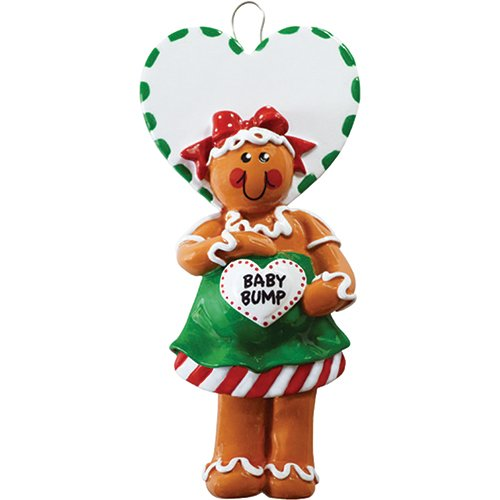 Personalized Gingerbread Mom To Be Christmas Ornament for Tree 2018 - Cute Expecting Pregnant Mother with Baby Bump Heart - Shower Boy Girl Gender Neutral 1st New First- Free Customization