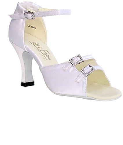 Very Fine Ballroom Latin Tango Salsa Dance Shoes for Women 1620 3-Inch Heel + Foldable Brush Bundle White Satin qeRtRrsq