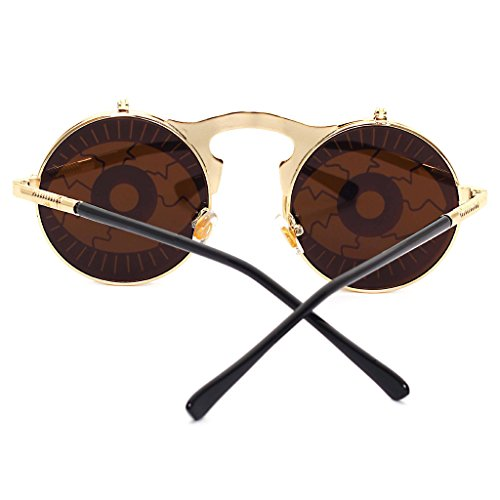 Steam Vintage Clamshell Homme Shades Gothic Femme m¨¦tal hibote Or Lunettes Sunglasses ronde Yeux Punk personnalit¨¦ en 1xdnTwC