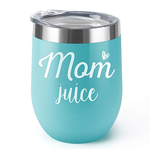 Mom Juice|Supkiir 12 oz Wine Tumbler, Double Wall Vacuum Insulated Wine Glasses with Lid, Stainless Steel Cup for Wine,Coffee,Cocktails|Perfect Mothers Day, Christmas Gift