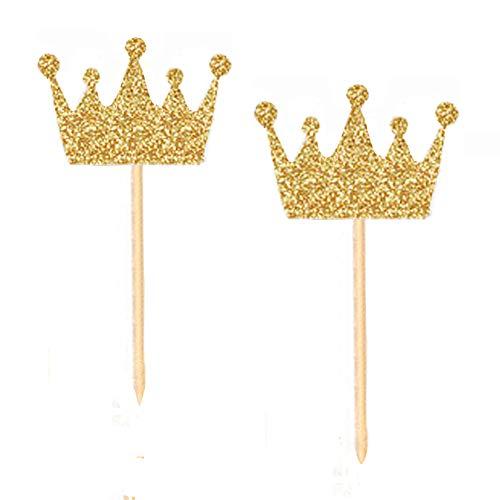 40 PCS Gold Crown Cupcake Toppers Princess Cupcake