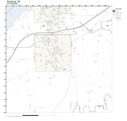 Amazon Com Zip Code Wall Map Of Fredonia Ny Zip Code Map Not