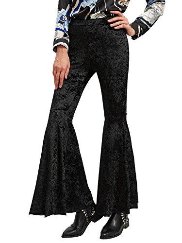MakeMeChic Women's Velvet Flare Pants Elastic Waist Bell Bottom Trousers Black (Black Velvet Trousers)