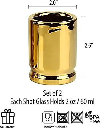 Swhcvj Carcasas de Bala de Calibre 50, el Vaso de chupito Original de 50 Cal, Juego de 2 Vasos de chupito con Forma de Casquillos de Bala de Calibre 50
