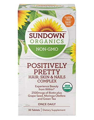 Sundown Organics Positively Pretty Hair Skin and Nails Vitamins, with Biotin and Zinc, Gluten Free, 100% Non-GMO, 30 Tablets