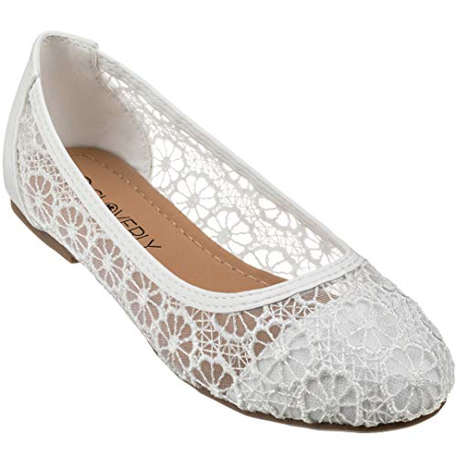 CLOVERLY Women's Ballet Shoe Floral Breathable Crochet Lace Ballet Flats (10 M US, -