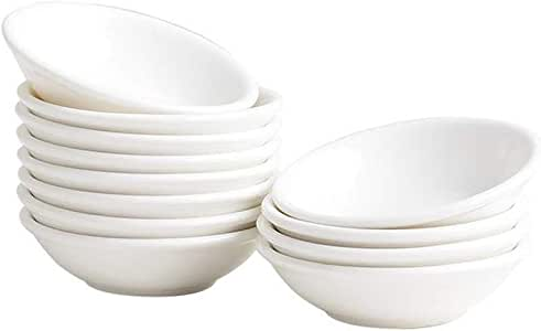 Dipping Sauce Dishes ,Round Soy Sauce Dipping Bowls, Dipping Bowls, Porcelain Watercolor Palette - 12 Packs, White, 1 oz