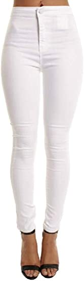 BYWX Women Skinny High Waisted Pencil Pants Stretch Jeans Denim Pants