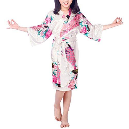 1d1f89812 Niña Pavo Real y Flores Satén Kimono Albornoces Pijamas Lencería ...