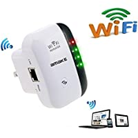 AMAKE WiFi Range Extender/Wireless Repeater/Internet Signal Booster Amplifier 300Mbps,Mini AP Access Point High Gain Antenna Compatible Alexa, Extends WiFi to Smart Home & Alexa Devices