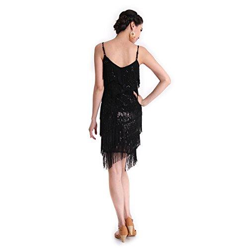 Danza Mujer Discoteca Concurso Vestido CoastaCloud Moderno Blanco Danza De Vestido Tassle Negro Latín Erprqv