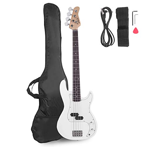 Glarry Electric Bass Guitar Full Size 4 String Rosewood Basswood Fire Style Exquisite Burning Bass (White)