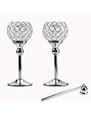Lindlemann Tall Crystal Candle Holders - Set of 2, with Candle Snuffer - Ornate centerpieces for Tables - for Use with Candlesticks, Tealight, Voltive and Flameless Candles [Silver, 10 inches]