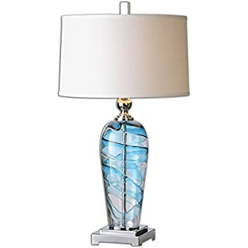 Amazon uttermost 26137 1 andreas contemporary blue and clear uttermost 26137 1 andreas contemporary blue and clear swirled blown glass table lamp mozeypictures Choice Image