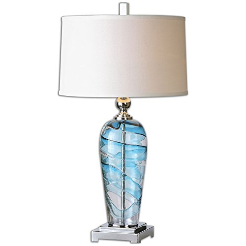 Uttermost 26137-1 Andreas Contemporary Blue and Clear Swirled Blown Glass Table Lamp