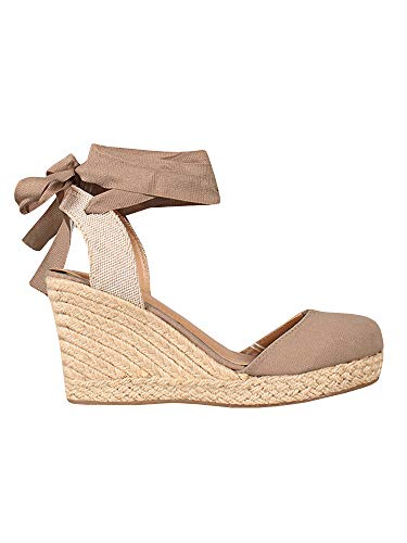 (Womens Espadrille Wedge Sandals Closed Toe Platform Lace Up Ankle Wrap Slingback Sandals)