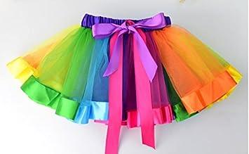 Hemore - Vestido de Ballet para niñas, diseño de tutú arcoíris ...