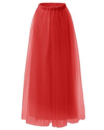 Dresstells jupe tutu annes 50 vintage en tulle Rockabilly longueur ras du sol Rouge