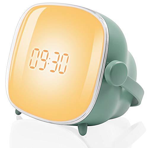Tubeshine Wake up Light Alarm Clock Lamp, TV Bedside Night Light with Sunrise Simulation, LCD Adjustable Lighting Time & Brightness, Two Sets of Alarm & Snooze Function, USB Charging(Cadmium Green)