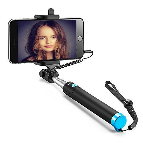 selfie stick wired iphone selfie stick for iphone 6 plus 6s 5s 5 6s plus 4 se sumsung galaxy. Black Bedroom Furniture Sets. Home Design Ideas