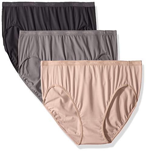 Ellen Tracy Women's Hi-Cut Logo Micofiber Panties, Charcoal/Mocha/Black, M (3-Pack) from ELLEN TRACY