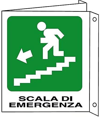 Cartellonistica Señal de Aluminio de Doble Cara 30 x 20 cm – Escalera de Emergencia – Escala de Emergencia: Amazon.es: Jardín