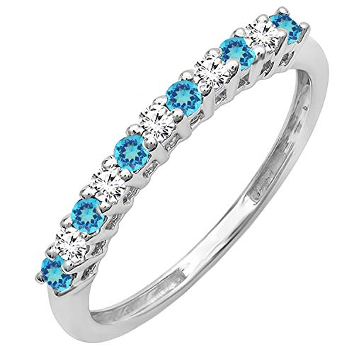 Dazzlingrock Collection 10K Round Blue Topaz & White Diamond Anniversary Stackable Wedding Band, White Gold, Size 7
