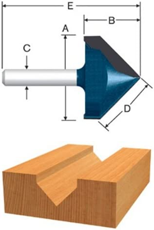 Carbide Tipped V-Groove and Scoring Router Bit Bosch 85219MC 9//16 In