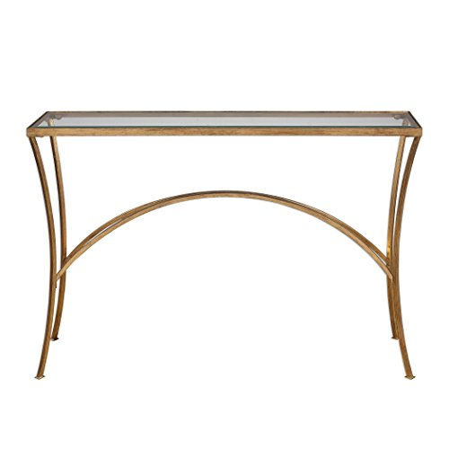 Minimalist Gold Arch Console Table | Metal Glass Top Hall Entry Modern  Contemporary