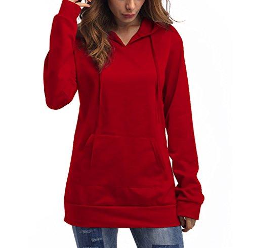 Invernale Felpe Puro Maglia Cappuccio Moda Larga Lunga Donna rossi Ragazze Casual Felpa Con Pullover Sportiva Top Manica Autunno Elegante Con Tasca Colore Coulisse waxxzH0q