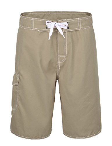 Boardshorts Khaki - Nonwe Men's Quick Dry Casual Swim Shorts Khaki 40