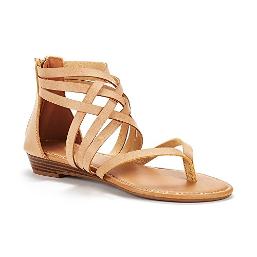 Wedge Heel Leather Sandals Thongs (Syktkmx Womens Thong Strappy Gladiator Ankle Sandals Criss Cross Strap Flat Low Wedges)