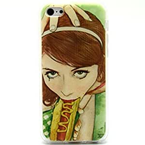 WQQ Hot Dog Girl Pattern Soft Case for iPhone 5C