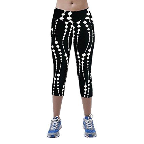 Super moderno Mujer Tartán Ejercicio Activo Capri Leggings mallas de elástica ajustada Cintura alta Fitness Yoga Sport pantalones elástico Leggings Recortada negro