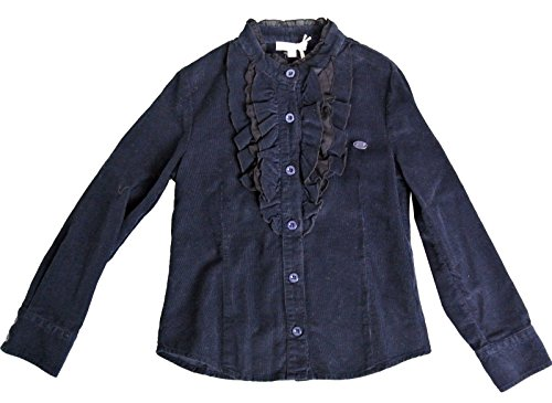 Gucci Blue With Ruffled Detail Long Sleeve Top Shirt 265591 Size 4 by Gucci