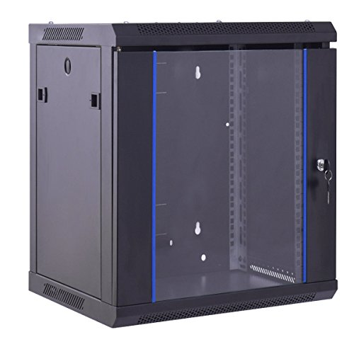 Safstar Wall Mount IT Network Server Cabinet Enclosure Data Devices Rack (12U, Tempered Glass (Standard Rack Cabinet)
