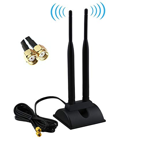 Dual WiFi Antenna with Extension Cable 6.5Ft RP-SMA Male Connector, 2.4GHz/5GHz Dual Band Antenna Magnetic Base for WiFi Wireless Router Mobile Hotspot Signal - Extension Antenna Wifi